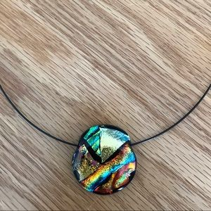 Jewelry - Glass pendant with wire chain